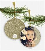 D2563 Golden Sparkle & Shine Photo Ornament Holiday Card 5.5