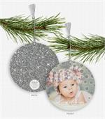 D2565 Silver Sparkle & Shine Photo Ornament Holiday Card 5.5